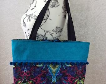 Handmade Beach tote shoulder bag Pom Pom shopping day bag purse fabric shopper turquoise Kaleidoscope