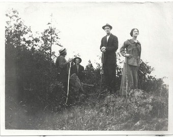 Old Photo Woman and Men Hiking holding Walking Sticks 1910s Photograph Snapshot vintage