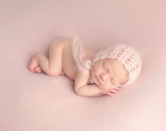 Pink (Blush) Mohair Bonnet Photography Prop