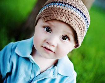 Baby Boy Hat, Ready to Ship, Newsboy Beanie, Crochet Baby Hat, Newsboy Hat, Baby Newborn Hat, Baby Hat, Newborn Prop, Baby Boy Beanie