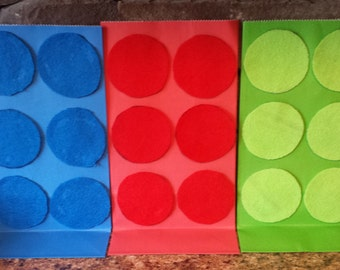 Set of 12 Lego Building Block Party Favor Bags