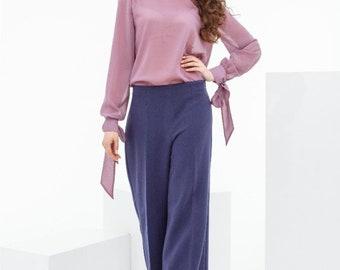 Pink chiffon blouse with ribbons on cuffs, light summer blouse, chiffon summer blouse Nadi Renardi