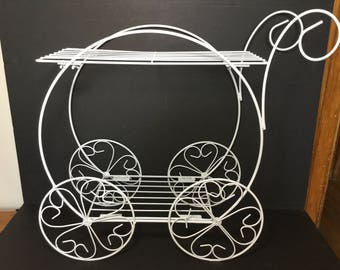 Flower Cart Plant Stand, White Metal Plant / Flower Stand / Display