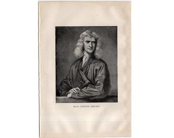 c. 1903 SIR ISAAC NEWTON print original antique celestial astronomy lithograph - portrait of scientist physicist and mathematician