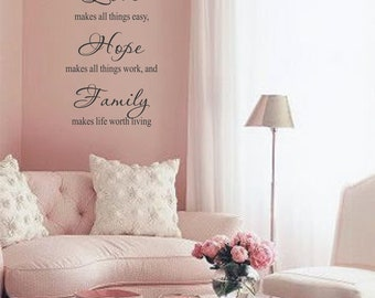 Faith Makes all Things Possible, Love, Hope, Family Wall Art in Words Vinyl lettering Decals