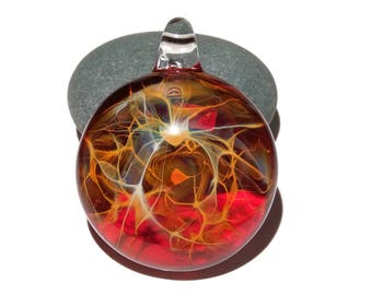 Glass Pendant - Fire Galaxy Pendant - Glass Art - Unique Bead - Blown Glass Jewelry - Glass Necklace - Boro Pendant - Universe Filament