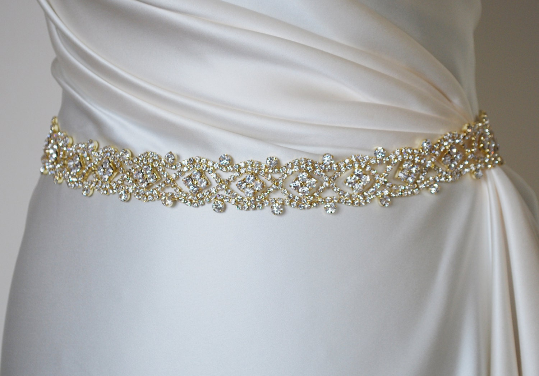 Gold bridal belt, gold belt, gold bridal sash, gold rhinestone ...