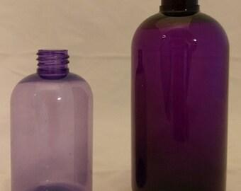 Lavender (4oz) and Purple (8oz) PET Boston Round Bottles