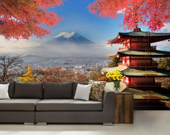 Japanese wallpaper, Japanese wall mural, Asia wall mural, self-adhesive, Fuji wall mural, new york wallpaper, mountain wallpaper, wall decal