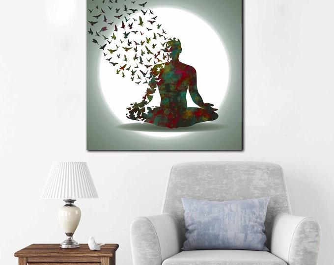 Yoga art, yoga wall art, yoga canvas print, yoga decor, yoga watercolor art, yoga print, yoga wall decal, yoga wall sticker, yoga canvas art