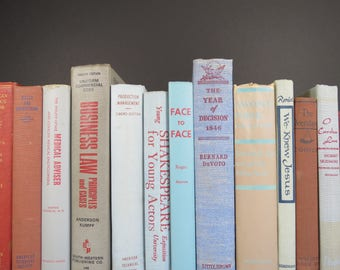 Red and Blue Book Set // Vintage Collection of Colorful Curated Books Shelf Fillers Mid Century Retro Modern Home Decor 13 Pieces