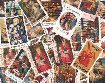 Traditional Christmas Vintage Postage Stamps