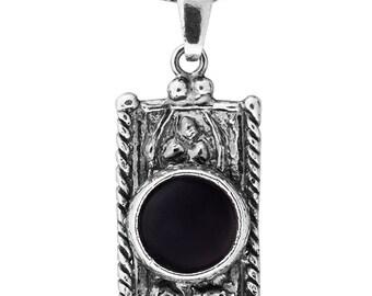 Silver Pendant, Black Onyx pendant, Gemstone pendantl, Sterling silver, handmade