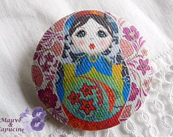 Button in matriochka fuchsia fabric, 0.86 in / 22 mm in diameter