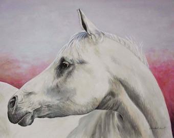 WHITE HORSE: original water color painting