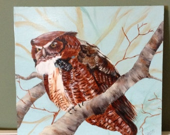 Owl painting, large owl on a tree branch, wild life, bird painting, acrylic painting, home decor, wall art