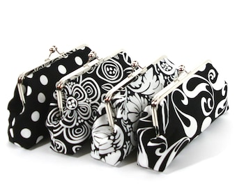 Black White Clutch Purses Bridesmaids Clutches Bridesmaids Gift Black Wedding Clutch