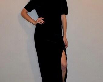 Vintage Black Velvet Front Leg Slit Maxi Dress