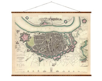 Old map of antwerp Etsy
