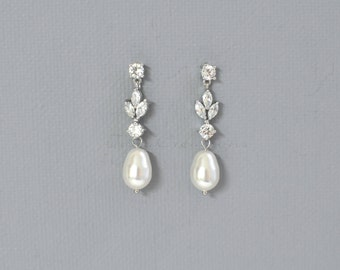 Crystal & Pearl Earrings, Pearl Bridal Earrings, Pearl Drop Earrings, White Gold Bridal Jewelry, Crystal Wedding Earrings