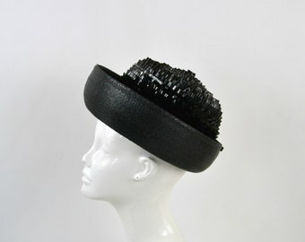 1960s Black Breton Straw and Ruched Hat by Original French Room