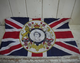 Vintage Union Jack Flag -Queen Flag - Coronation Flag - Vintage British Flag - Queens Coronation