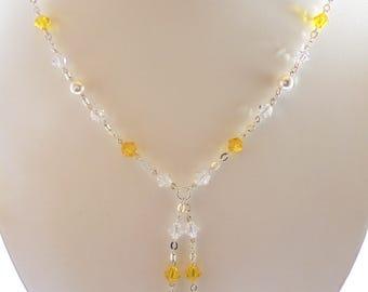 Yellow Lariat Swarovski Crystal Necklace, Yellow Crystal Necklace, Swarovski Crystal Lariat, Yellow Y Necklace, Swarovski Yellow Necklace