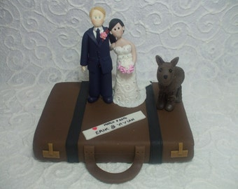 customized bride and groom  with llama on suitcase wedding cake topper/ travel wedding cake topper