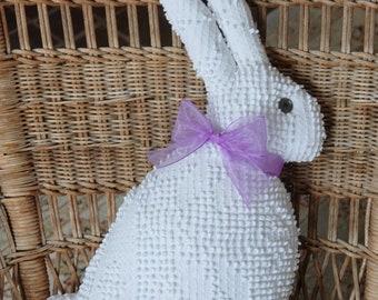Vintage Chenille Big Bunny Rabbit pillow White Hobnail