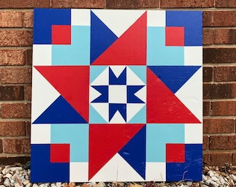 Hand painted rustic barn quilt. 2'x2', Folding Star quilt block. Red, White and Blue. Indoor/outdoor, weather/UV resistant