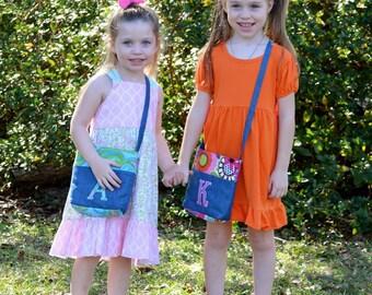 Girls Denim Purse, Toddler Purse, Childrens Crossbody Bag, Kids Tote Bag, Handbag, Personalized, Applique, Small Gift Idea, Flower Girl Gift