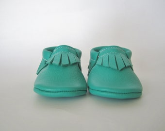 Jade Leather Baby Moccasins