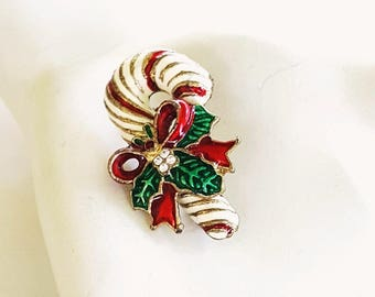 Vintage Candy Cane Brooch, Holiday Brooch. Teen Brooch Vintage Brooch, Teacher Gift. Co Worker Gift