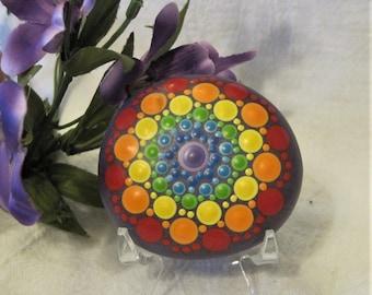 CHAKRA Mandala WISDOM Stone Hand Painted River Rock ~ Energy ~ Meditation ~ Rainbow Colors ~ Seven Chakras Dot Painting