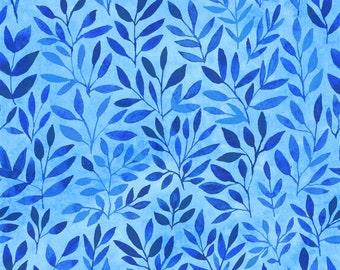 Blue Leaf Fabric, Summer Room Decor, Curtain Fabric, Apron Fabric, Quilting Supply, Orange Fabric, Cotton Fabric By The Yard, Fat Quarter