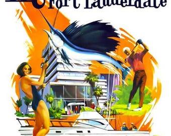 Miami Fort Lauderdale Florida Travel Poster - Vintage Travel Print Art - Home Decor