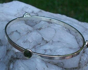 Recycled Repurposed Early 1900's Olive Green Wine Bottle Glass Stacking Bangle Bracelet