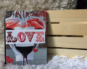 Collaged love composition notebook