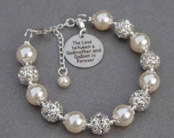 Godmother Godson Gift, Godmother Godson Jewelry, Godmother Bracelet, Gift for Godmother, Under 50, Present from Godson, Baptism Gift