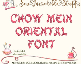 Chow Mein Oriental Chinese Machine Embroidery Font