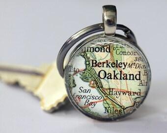 Personalized Berkeley Oakland Key Chain, father gift, best friend gift, college graduation, boyfriend keychains, gift for men