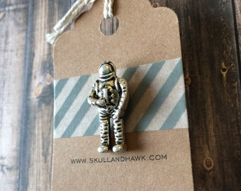 Astronaut Lapel Pin - Silver Tone Metal - Tack Backing with Clutch Clasp