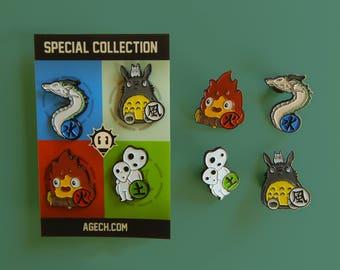 Ghibli Elemental Charms Enamel Pins. Set of 4. Limited Edition. Perfect for Studio Ghibli, Miyazaki and Totoro fans