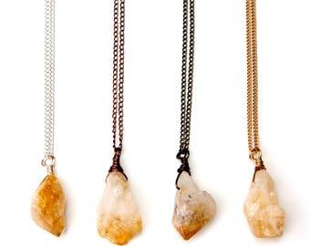 raw citrine necklace, citrine necklace, citrine pendant, citrine jewelry, citrine, birthstone necklace, raw stone, raw citrine, raw jewelry