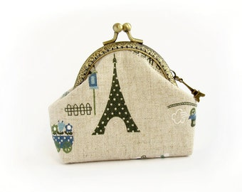 Coin Purse Paris Style, green Eiffel Tower Purse, french retro linen purse, blue love heart, purse with kisslock