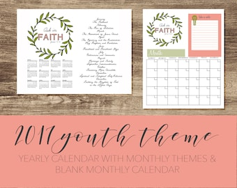2017 Youth Theme yearly calendar with monthly theme and Blank  Monthly calendar