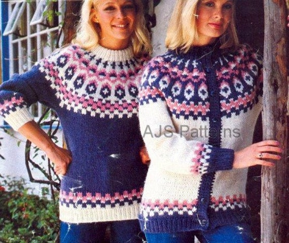 PDF Knitting Pattern for a Ladies Fair Isle Sweater and