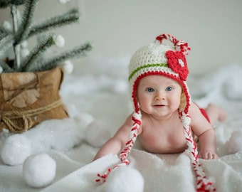 Baby Christmas  Hat - Select a Size - Adorable Earflap Hat with Tassel and Braids - Holiday Winter Hat with Flower - Kids Holiday Hats