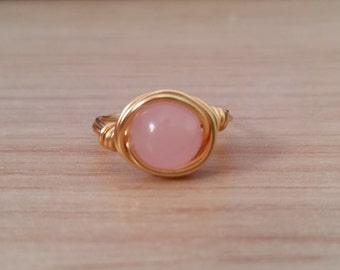 Pink Jade Gold Wire Ring - Natural Stone - Handmade - Wire Wrapped Ring - Silver - Pastel - Boho - Bohemian - Stack able Ring - Dainty