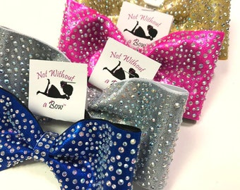 Tailless Cheer Bow - Scattered Rhinestone Tailless Cheer Bow -  AB Crystal or Clear Rhinestone - Choose Bow Colors